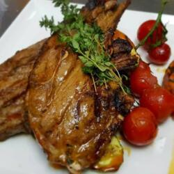 Blue Pine Jumbo Lamb Chops With Sweet Potatoes And Grilled Vegetables